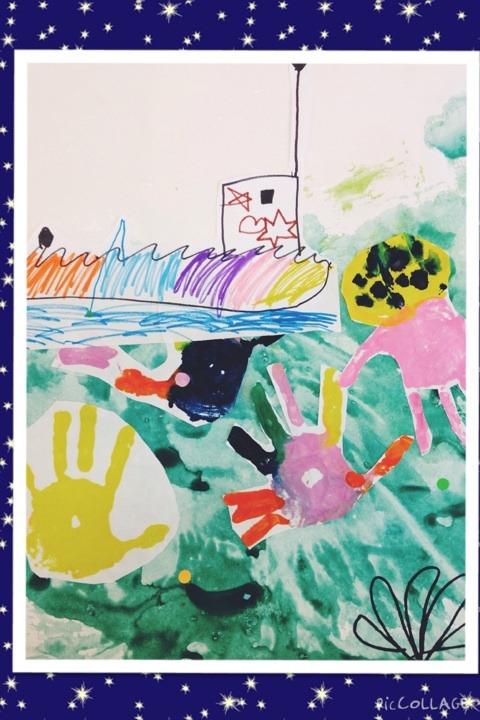 海の世界 フィンガーペインティングと手のひらアート イメージ画像