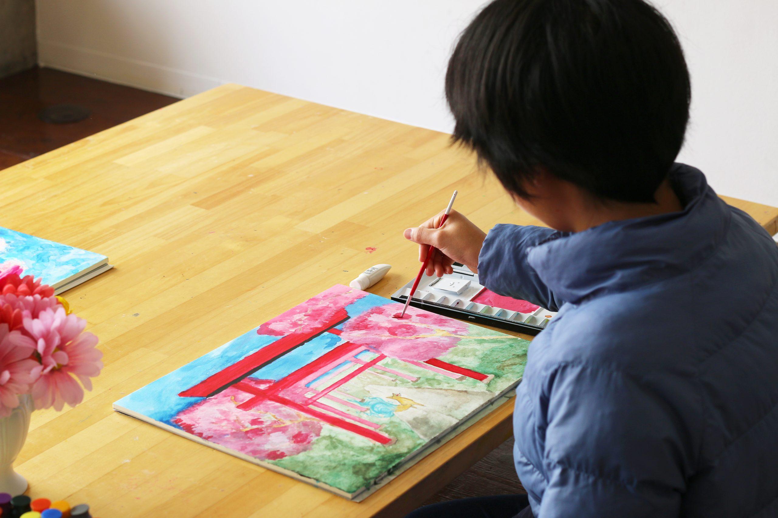 アート課題「桜のある風景(想像画)」 イメージ画像
